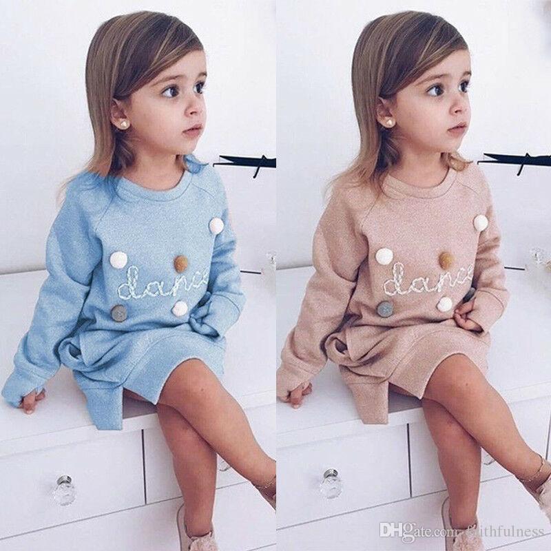 Niños para niños Ropa para niños Vestido para niños Ropa para bebés Invierno Algodón Cálido suelto Vestidos rectos para niñas Robe Fille