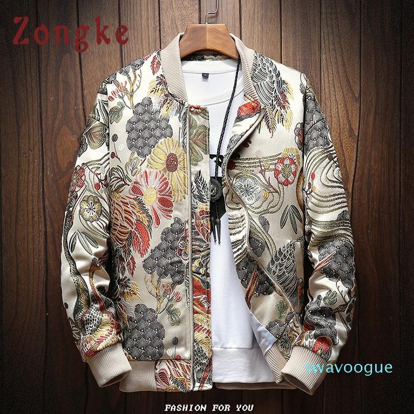 Zongke giapponese ricamo uomini del rivestimento del cappotto dell'uomo di Hip Hop Streetwear uomini del cappotto del rivestimento Bomber Abbigliamento 2020 Sping Nuovo YE08