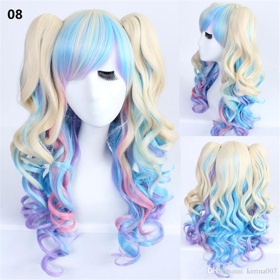 cosplay de dibujos animados onda del cuerpo 70-75cm fibra natural pelucas de pelo rizado de alta temperatura hizo pelo sintético pelucas tapa