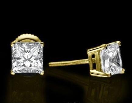 Princesa de ouro amarelo 14KT reforçada rapaz diamante brincos 3.00 CT D / VS1