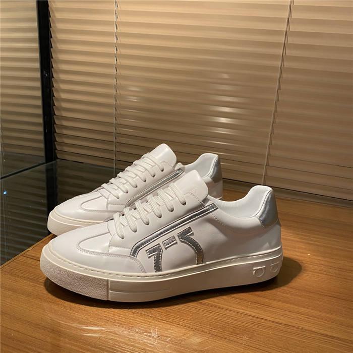 2020 erkek düşük top rahat ayakkabılar Gümüş kakma yapmak için stil kenar notu sığır derisi beyaz runwawy spor ayakkabısı kadar çıkıyor