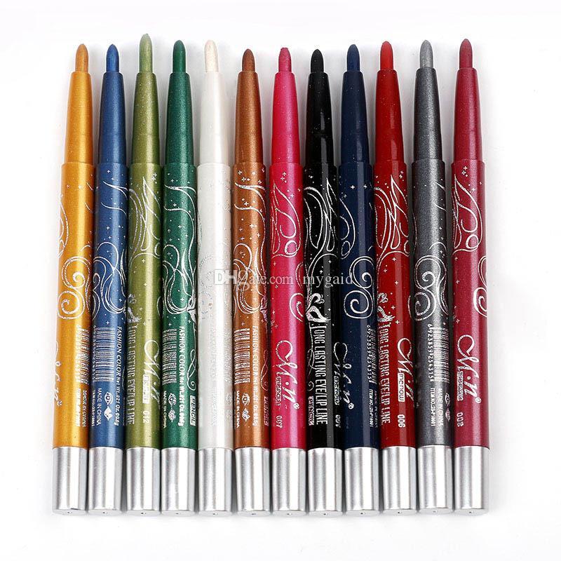 DHL 1set=12pcs 12 color MENOW eyeliner lip liner eyeliner pencils Waterproof eyeliner Auto rotate Multifunction eye liner