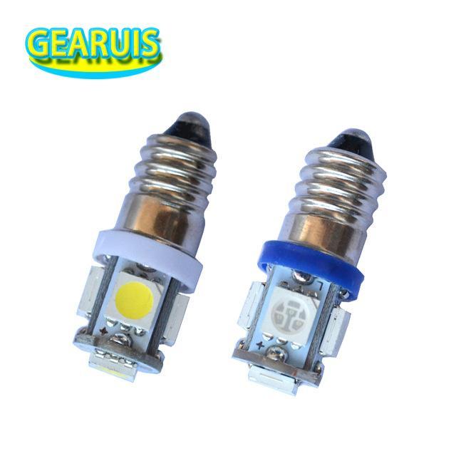 10PCS LED E10 6V 나사 전구 경고 신호 전구 5 SMD LED는 계측 순수한 흰색 빨간색 파란색 노란색 녹색 6V 3V 5LED 5smd