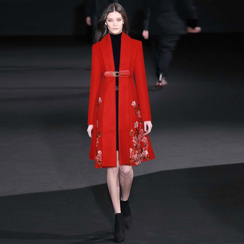 2020 Весна Красных сплошного цвета Шерстяной вышивка колен с длинным рукавом V шея Мода Длинных пиджаки пальто 9YDY11CTD13