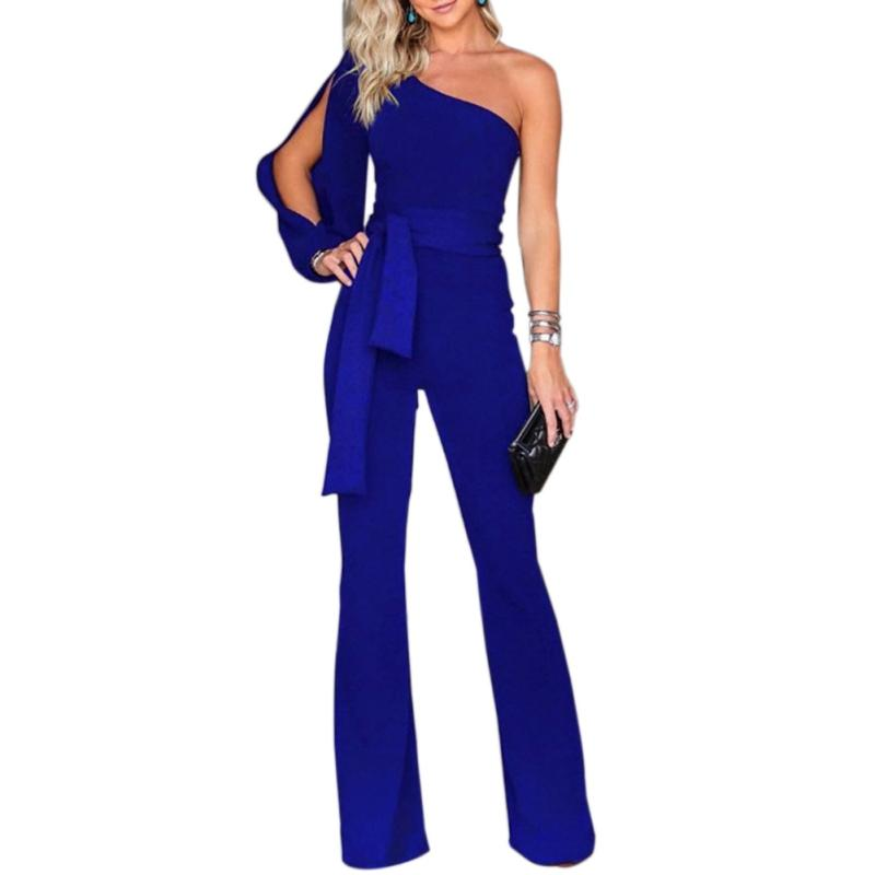 Fashion Women's jumpsuit Sexy Belt One-shoulder Sleeves Bandage Nice Elegant Long Jumpsuit