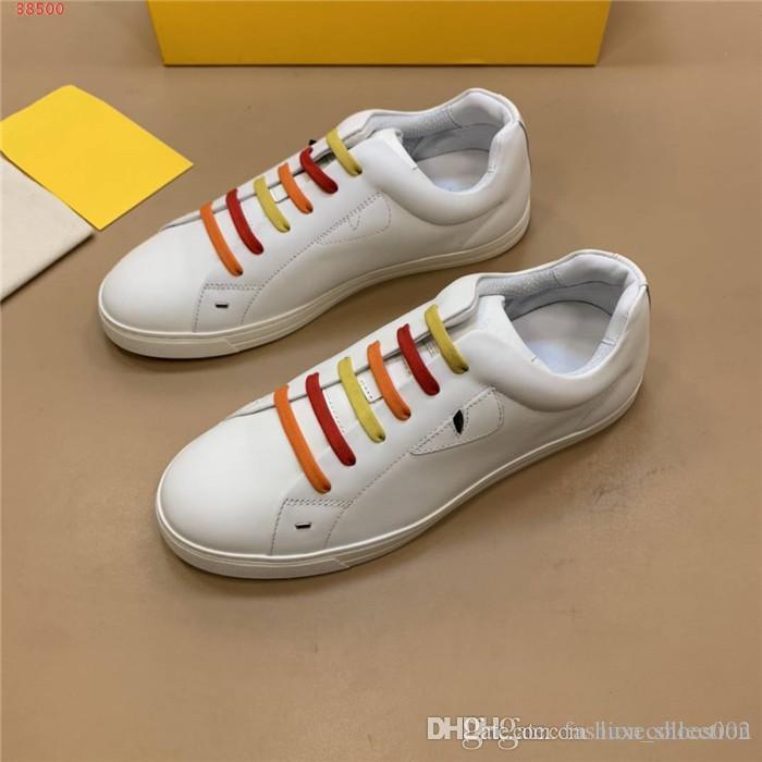 Frühling und Sommer Mens klassische beiläufige kleine weißen Schuhe mit bunten geschnürt Turnschuhen Low-Top flachen Laufschuh Größe 38-45