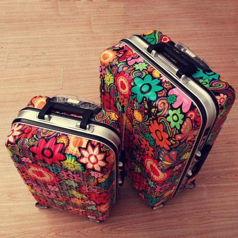 Мода граффити прокатки багажа алюминиевая рама spinner carry on Марка тележки чемодан путешествия алюминиевый багаж 20/24/28 дюймов