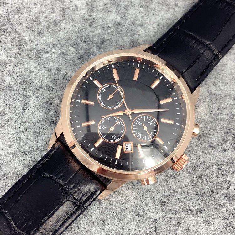 2019 мода из нержавеющей стали кварцевые мужские кожаные часы япония часы часы розовое золото наручные часы марка мужские часы коричневые / большие кварцевые часы