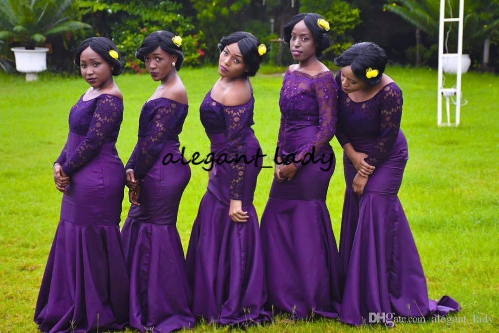 웨딩 파티에 대한 로브 드 모아 젤 D' honneur 긴 소매 공주 들러리 드레스 퍼플 보트 넥 레이스 주니어 정장 드레스