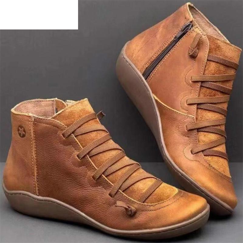2020 Arche de soutien Bottes femmes Bottes Damping souple confortable fond plat cuir Zipper cheville Chaussures femmes Botas Mujer