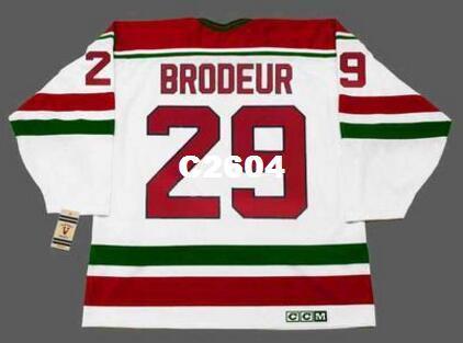 Mens # 29 Martin Brodeur New Jersey Devils 1992 CCM Vintage RETRO Ana Hokeyi Jersey veya Jersey Retro özel herhangi bir ad veya numara