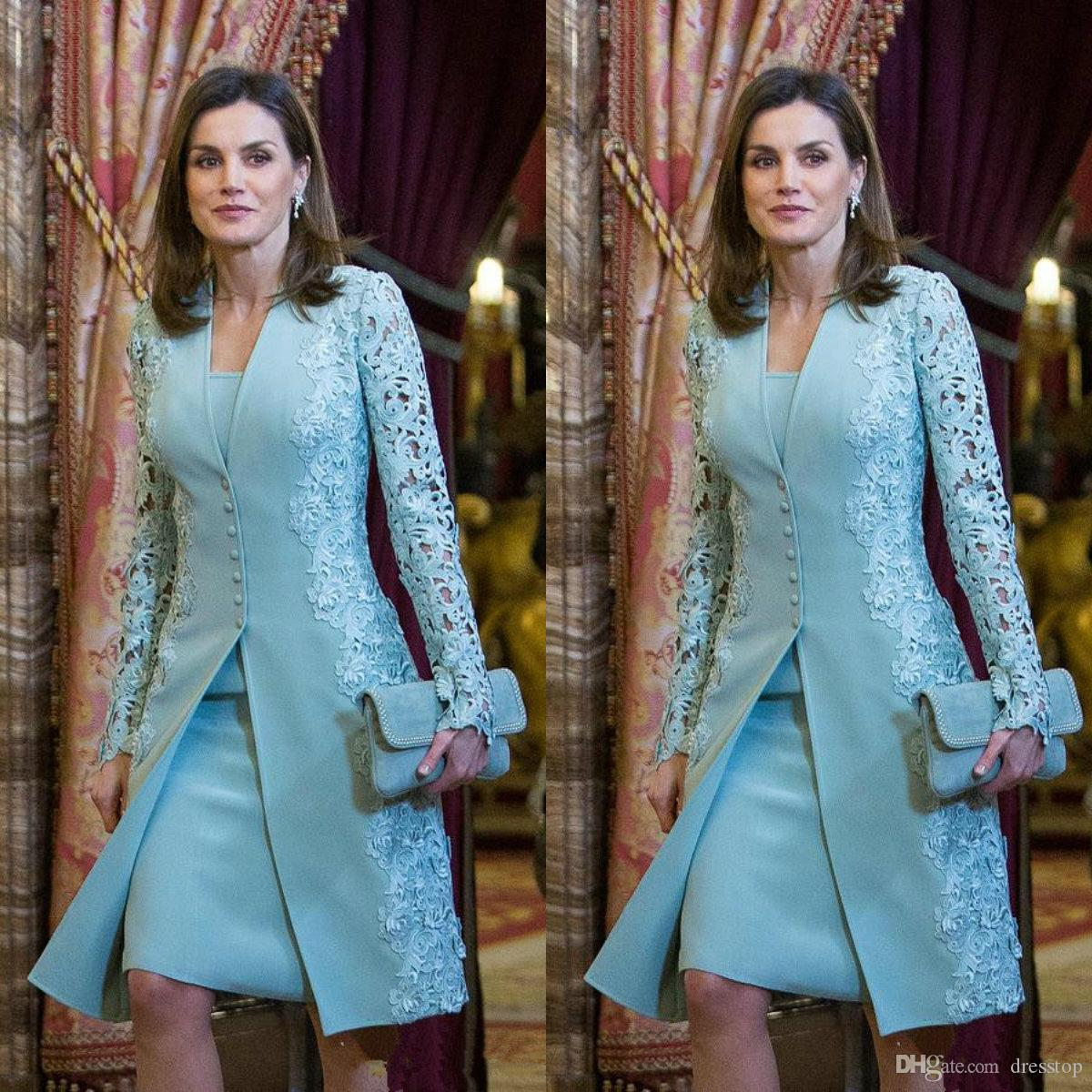 Elegant Two Pieces Mother of The Bride Dresses with Jacket Lace Applique Long Sleeve Groom Godmother Evening Dress Knee Length