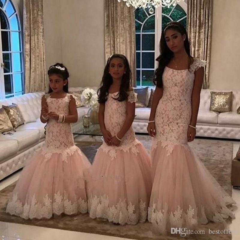 Free Shipping Lace Floor Length Kids Formal Wear Tulle Mermaid 2019 Cute Little Girl Dresses Popular Flower Girl Dresses