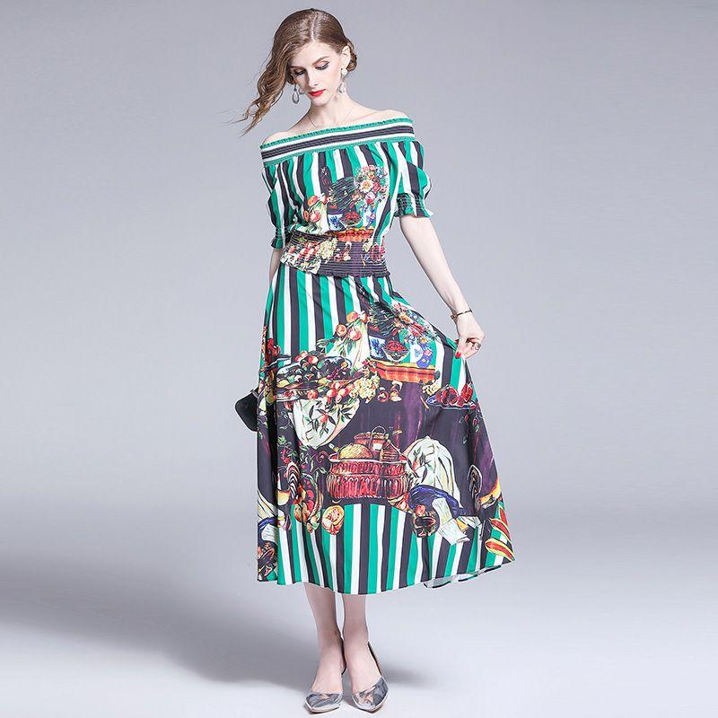 Pist Tasarımcı Yaz Kadın Seksi Kapalı Omuz Kısa Kollu Vintage Baskılı Üst + Etek 2adet Seti Elbise Şık Moda Elbiseler vestidos