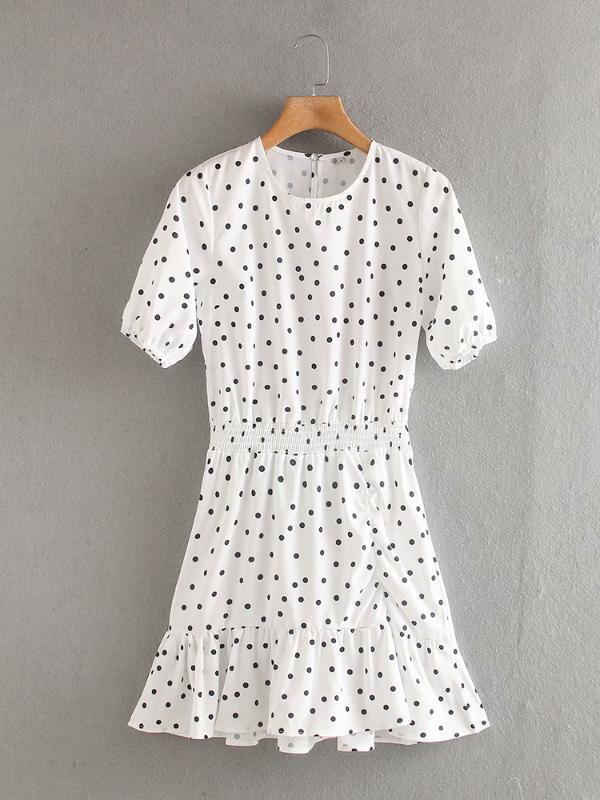 Pois Stampa Ruffled Hem elastico di BIAORUINA Donne vita alta vestito casuale girocollo manica corta Sweet Dress Vestido