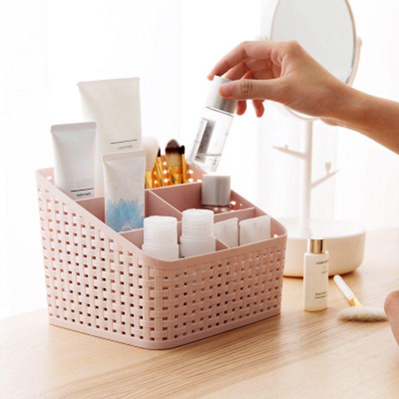 IVYSHION maquillaje del caso del organizador de almacenamiento dispositivo de 5 ranuras de la rejilla de cosméticos Caja de almacenamiento de plástico multi-agarre imitación ratán Organizador