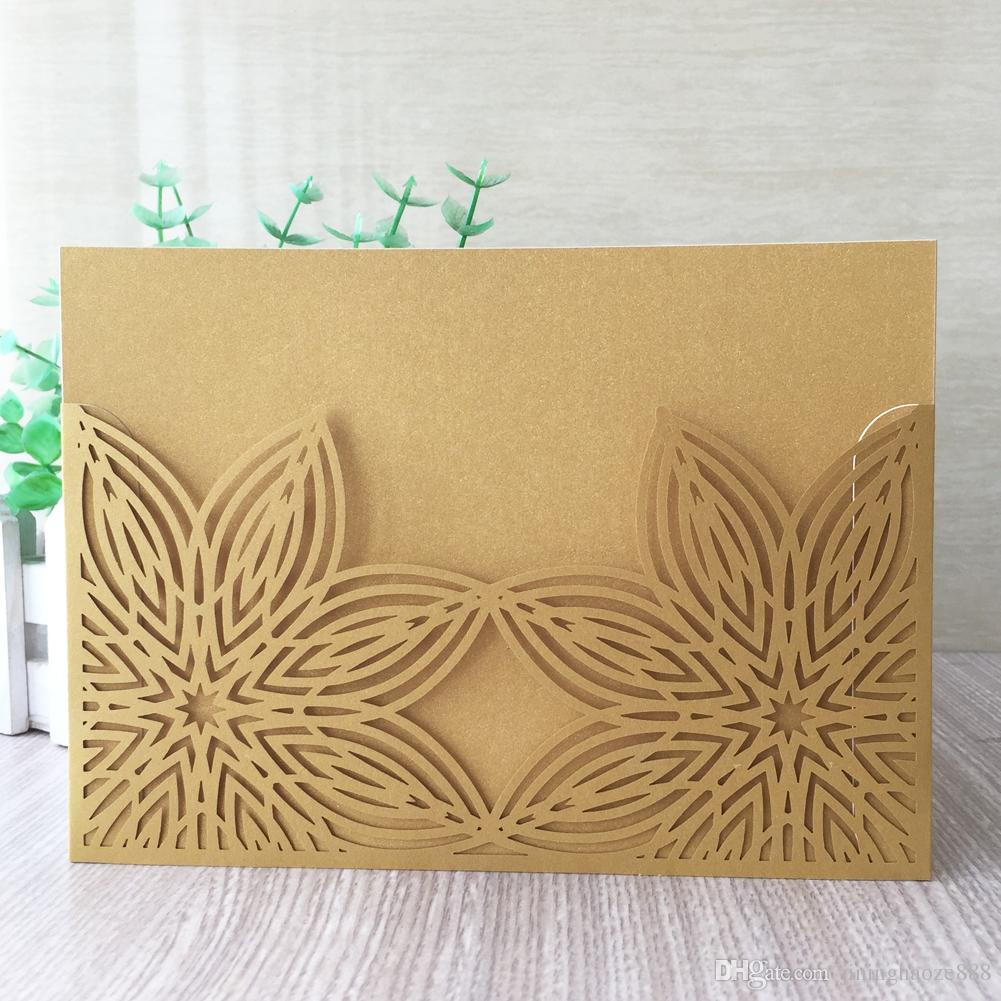 50PCS /lot Double Flowers Wedding Invitation Cards Envelope Design With Graduation Valentine's Day Invitations Gift Cards Supplies