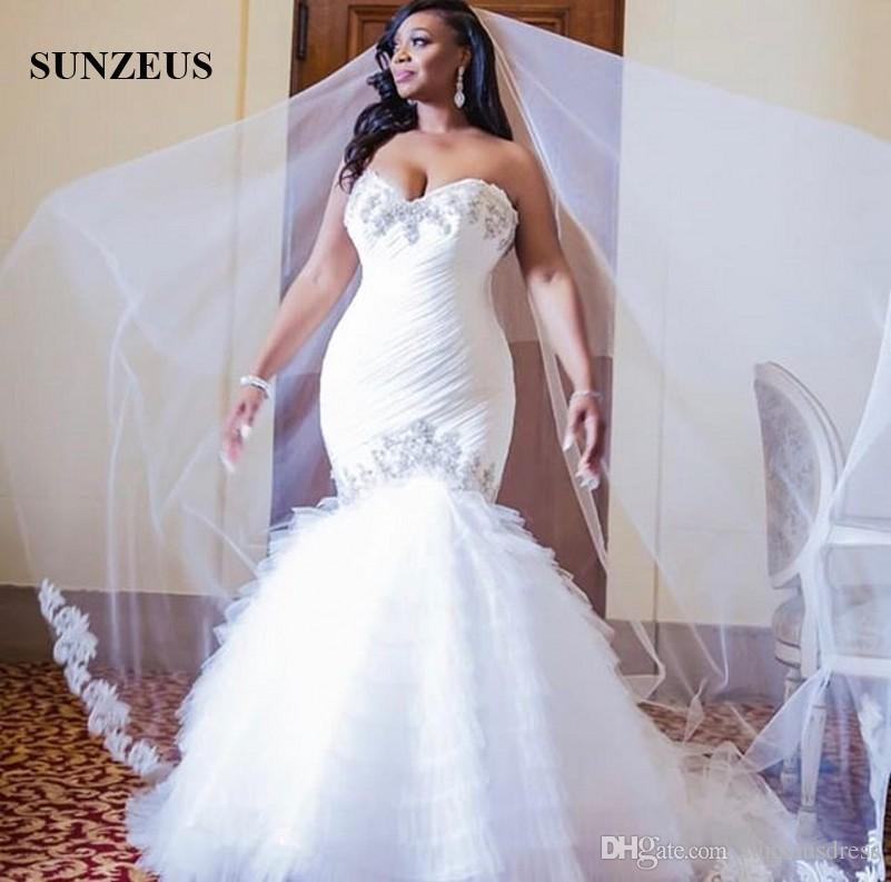 Acheter Sirene Cherie Robes De Mariee 2019 Femmes Africaines Appliques Plissee Tulle Robes De Mariee A Paliers Volants Jupe Longue Robe De Mariage
