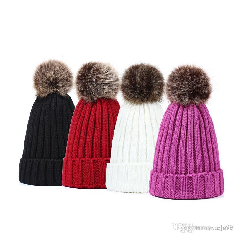 10 colori di modo popolare Beanie Cappelli imitazione pelliccia di procione Cappello lana palla palla pom Beanie maglia sciistica invernale Regalo di Natale Donne