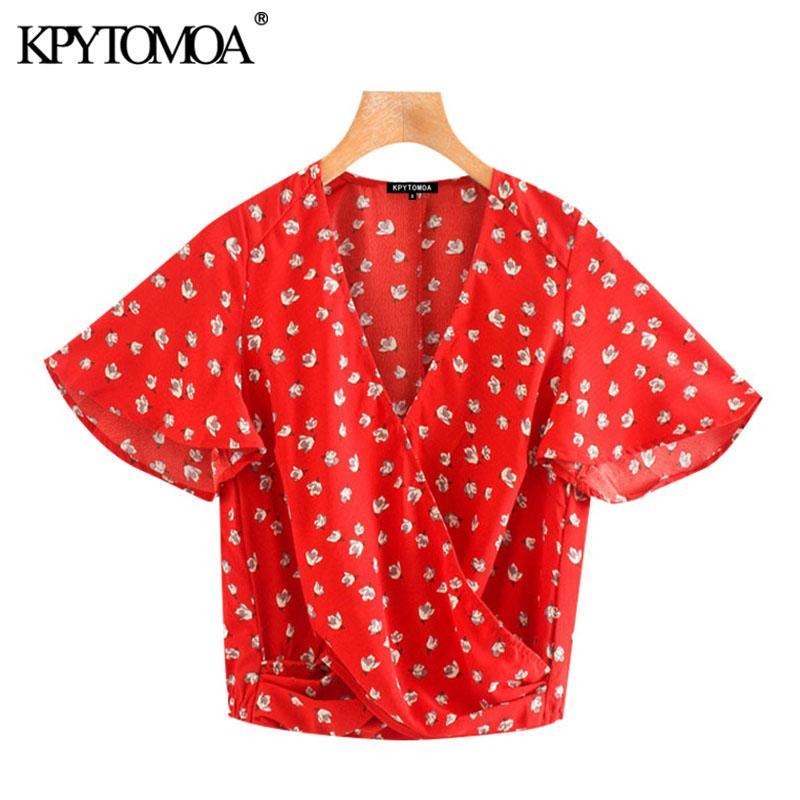 KPYTOMOA Frauen 2020 süße Art und Weise Blumendruck gefaltete Blusen-Weinlese V-Ausschnitt Kurzarm Female Shirts Blusas Chic Tops