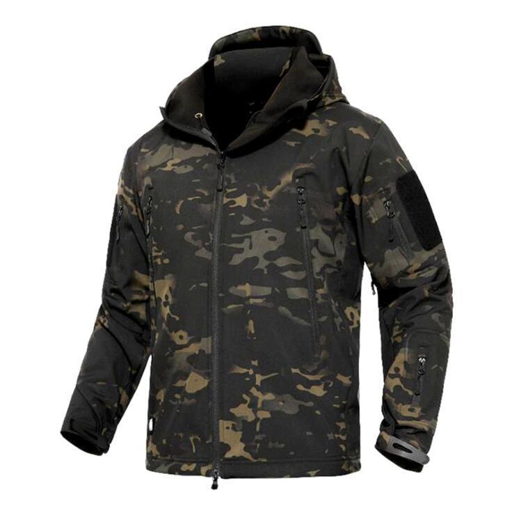 Tactical Softshell Jacket Men Outdoor Hooded Fleece Jacket Wind Waterproof Multicam Black A-TACS Kryptek Coyote Brown(SKU050403)