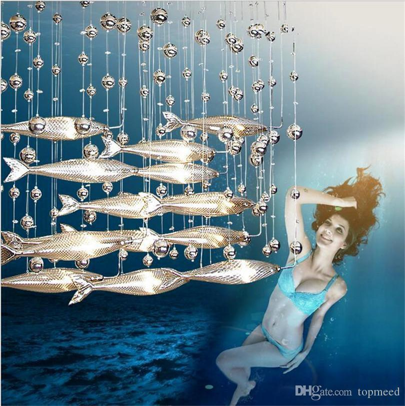 Хрустальная люстра креативное стекло индивидуальный рыбный ресторан украшенный хрустальной люстрой вестибюль гостиной люстра