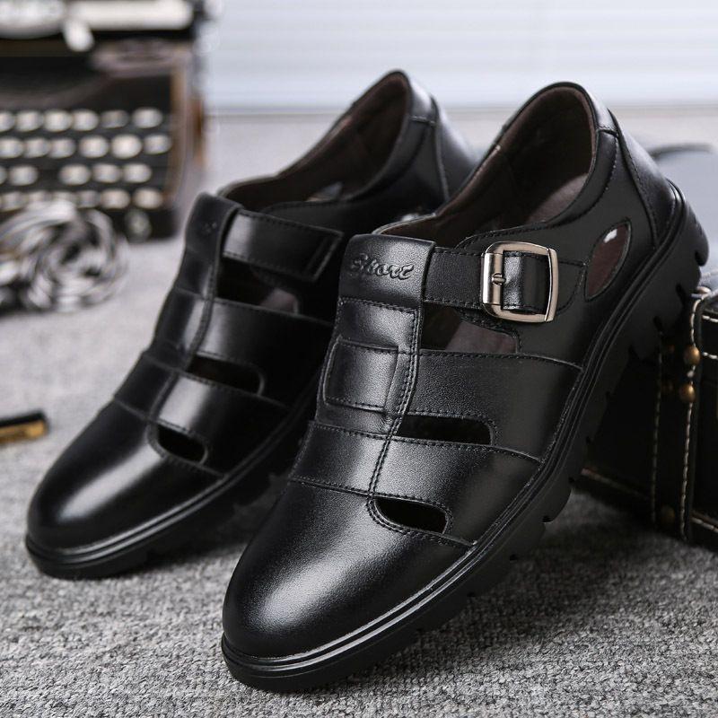 sandalo Pelle per le dita dei piedi copertura papa grandi dimensioni sandali fibbia di scarpe di tutti i giorni cowskin uomini tallone spesso traspirante sandalo zy773