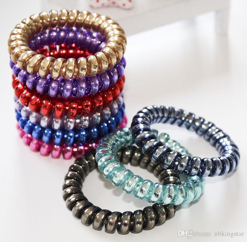 2017 Women Colorful Hairband Girl Candy Color BIG Telephone Cord Headbands Elastic Ponytail Holders Hair Ring 100pcs/lot Diameter 5.8cm
