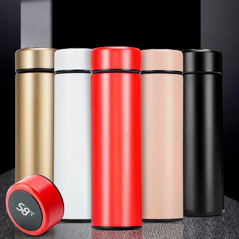 الصمام عرض درجة الحرارة الترمس 500ML الذكية فراغ زجاجة المياه 304 الفولاذ المقاوم للصدأ السفر الترمس القهوة زجاجة