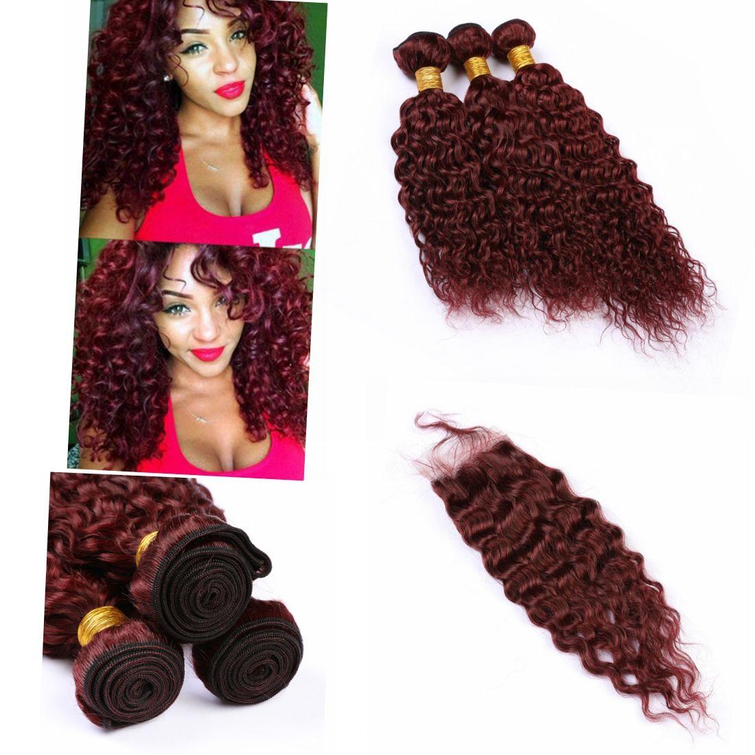 8A humaine Cheveux Vierge Cheveux brésiliens avec fermeture eau onduleux # 99J Couleur 4x4 Fermeture