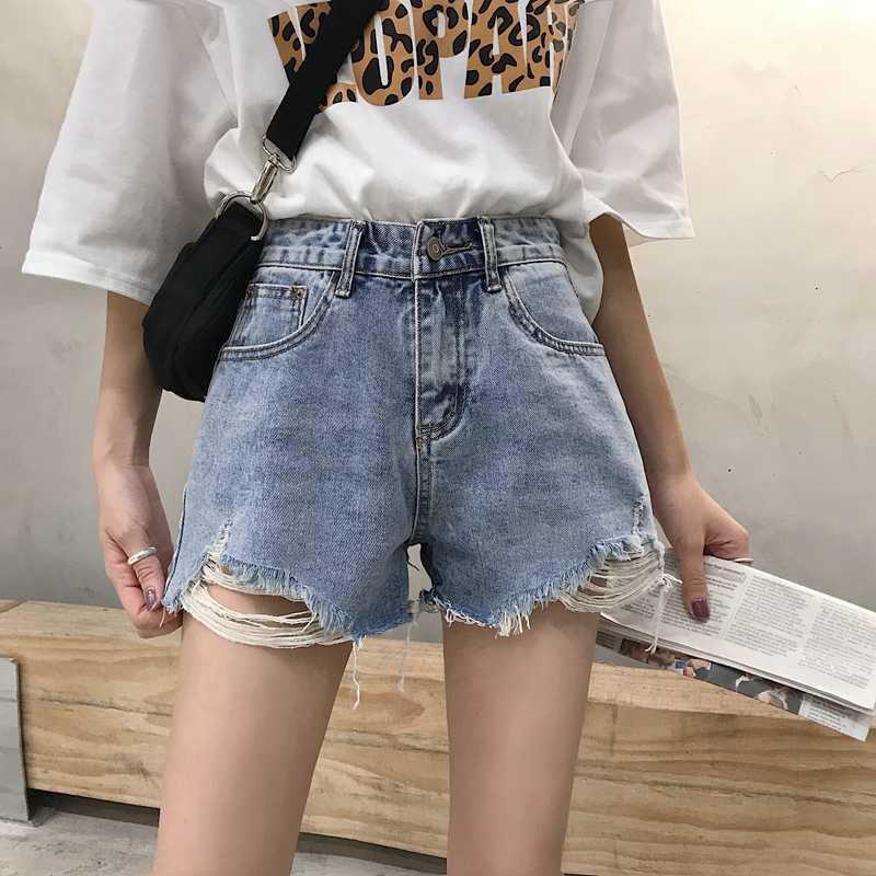 Denim schließt weibliche Kanten gewaschen Loch hohe Taille wild dünne gerade breit geschnittene Jeans Mädchen Mini-Denim-Shorts sexy