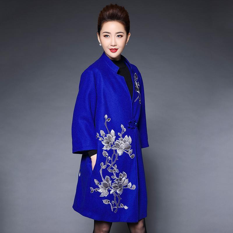 Meados de Idade Meia Das Mulheres Elegante Casaco De Lã Nacional Para O Outono Inverno Novo Estilo Retro Solto Longo Feminino Bordado Casaco Outwear