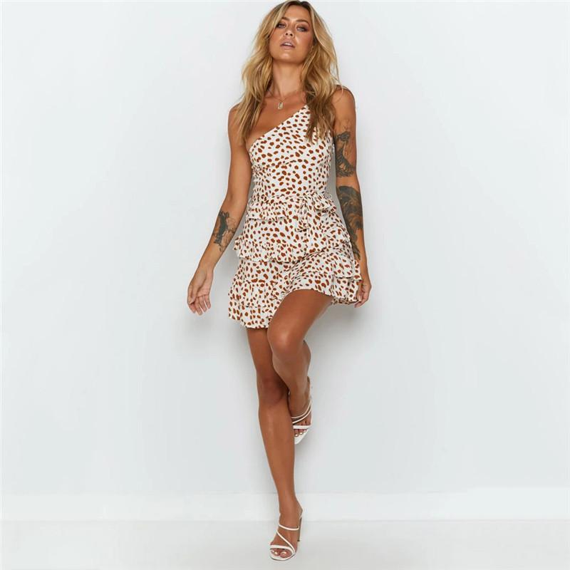 Мода в горошек Пояса Платья Женская одежда Женская Дизайнерская печати Bodycon платье сексуальные платья одно плечо