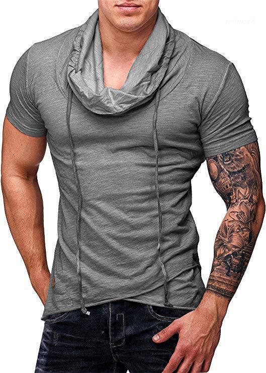 Yaka Kısa Kollu Erkek Tasarımcı Genç Moda Tees Erkek Katı Renk Spor Tişört High Tops