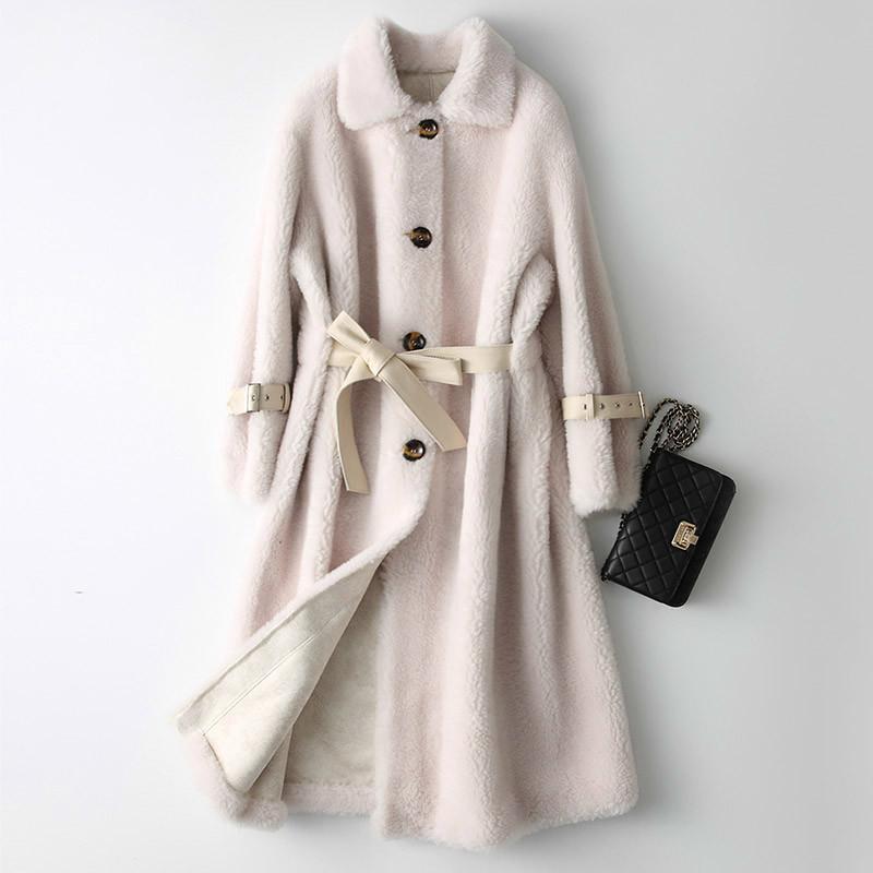 Autumn Winter Coat Women Clothes 2020 Real Fur Coat Red Long Wool Jacket Korean Vintage Sheep Shearling Fur KQN18225 ZT2777