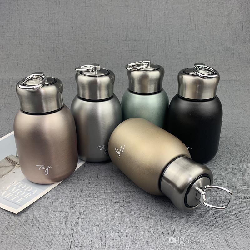 الفولاذ المقاوم للصدأ البهلوانات المحمولة 300ML بلوري القدح صغيرة فراغ معزول المياه الطلاب السيدات زجاجة التعامل مع كأس لسفر في الهواء الطلق