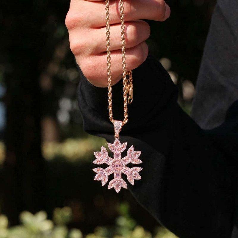 gefror heraus Schneeflocke Anhänger Halsketten für Männer Frauen Luxus-Designer-rosa bling Diamantblumenanhänger Kupfer Zirkon Rose Goldkette Schmuck
