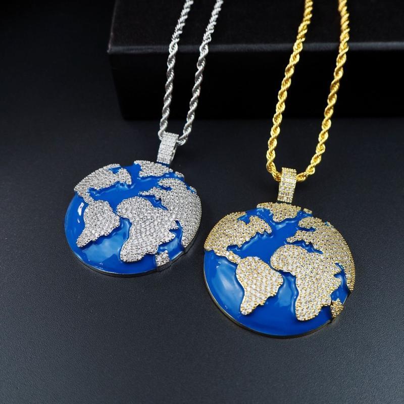 Iced Out Blue Earth Colar Pingente de 4 milímetros Tennis Cadeia colares Cubic Zirconia ouro prata da cor das mulheres dos homens de Hip Hop Jóias Presentes
