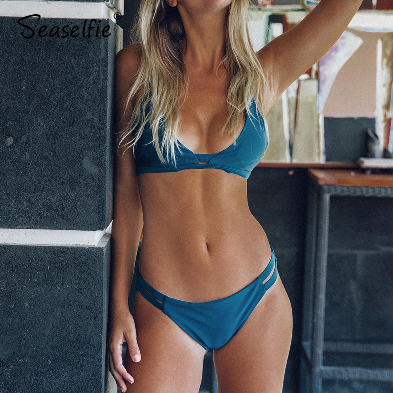 SEASELFIE Blue Sea Solid Perizoma Bikini triangolo donne Bra due parti dello Swimwear 2020 Ragazza della spiaggia costume da bagno costume da bagno