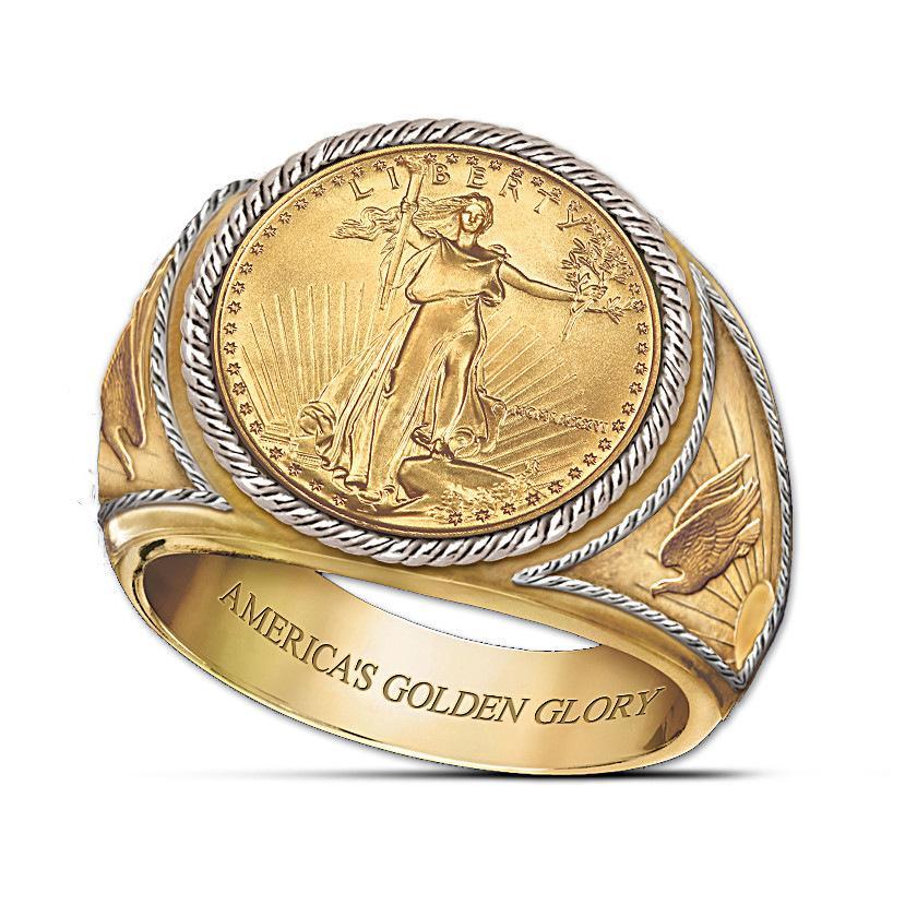 Golden Glory Hombres fe y la fuerza del anillo de Estados Unidos anillos de compromiso para los hombres de la boda joyería Tamaño anillos de las 7-11 envío