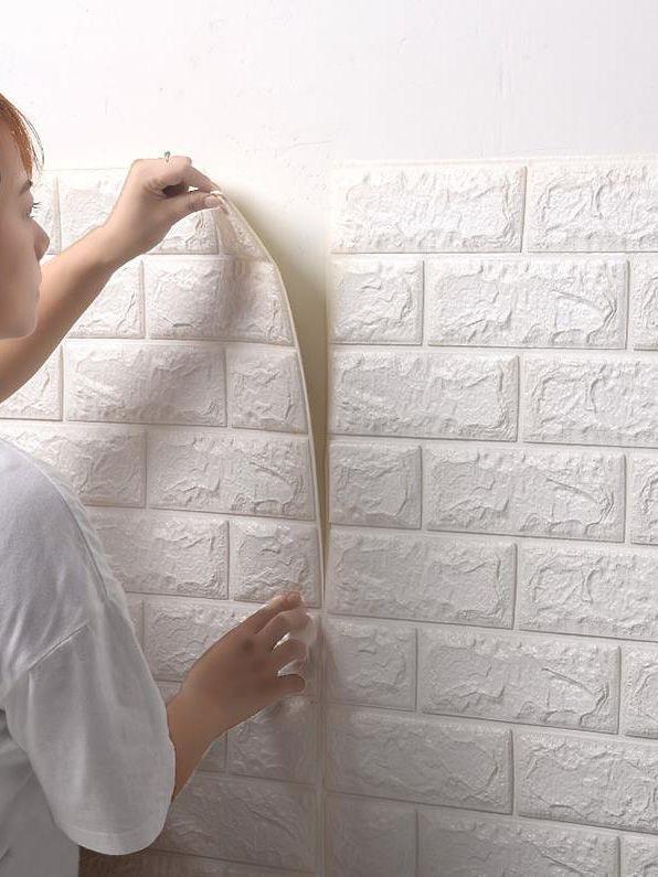10pcs heiße Verkaufs-PE-Schaum-Tapeten-3D DIY-Wand-Aufkleber-Wand-Dekor Geprägte Ziegelstein Tapete Zimmer-Haus 77 * 70cm Poster