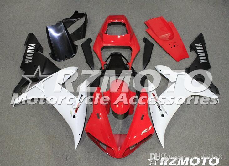 Calidad Nuevos Kits ABS carenado completo OEM aptos para YAMAHA YZF R1 02 03 2002 2003 YZF1000 R1 carrocería conjunto personalizado Rojo Blanco Libre