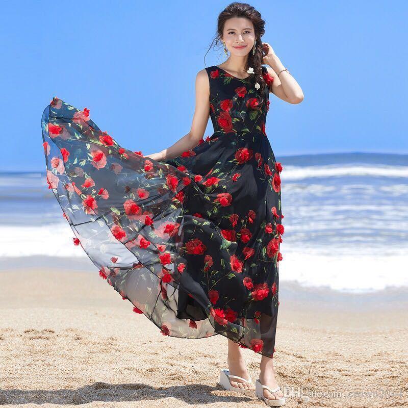 2019 비치는 3D 플로랄 인쇄 댄스 파티 드레스 라인 패션 긴 정식 이브닝 드레스 여름 쉬폰 층 길이 파티 캐주얼 여성 가운을 로즈