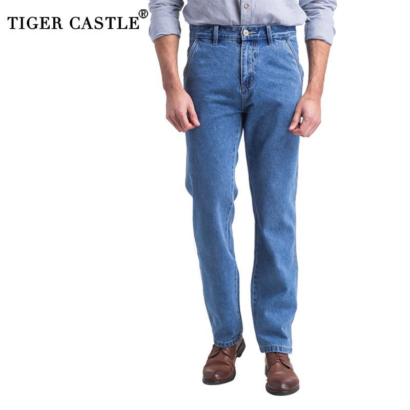 Klassische Thick Herren Jeans Frühling und Herbst 100% Cotton Black Denim Overalls Mann-Qualität regualr Fit Jeans Vintage blaue Hose T200614