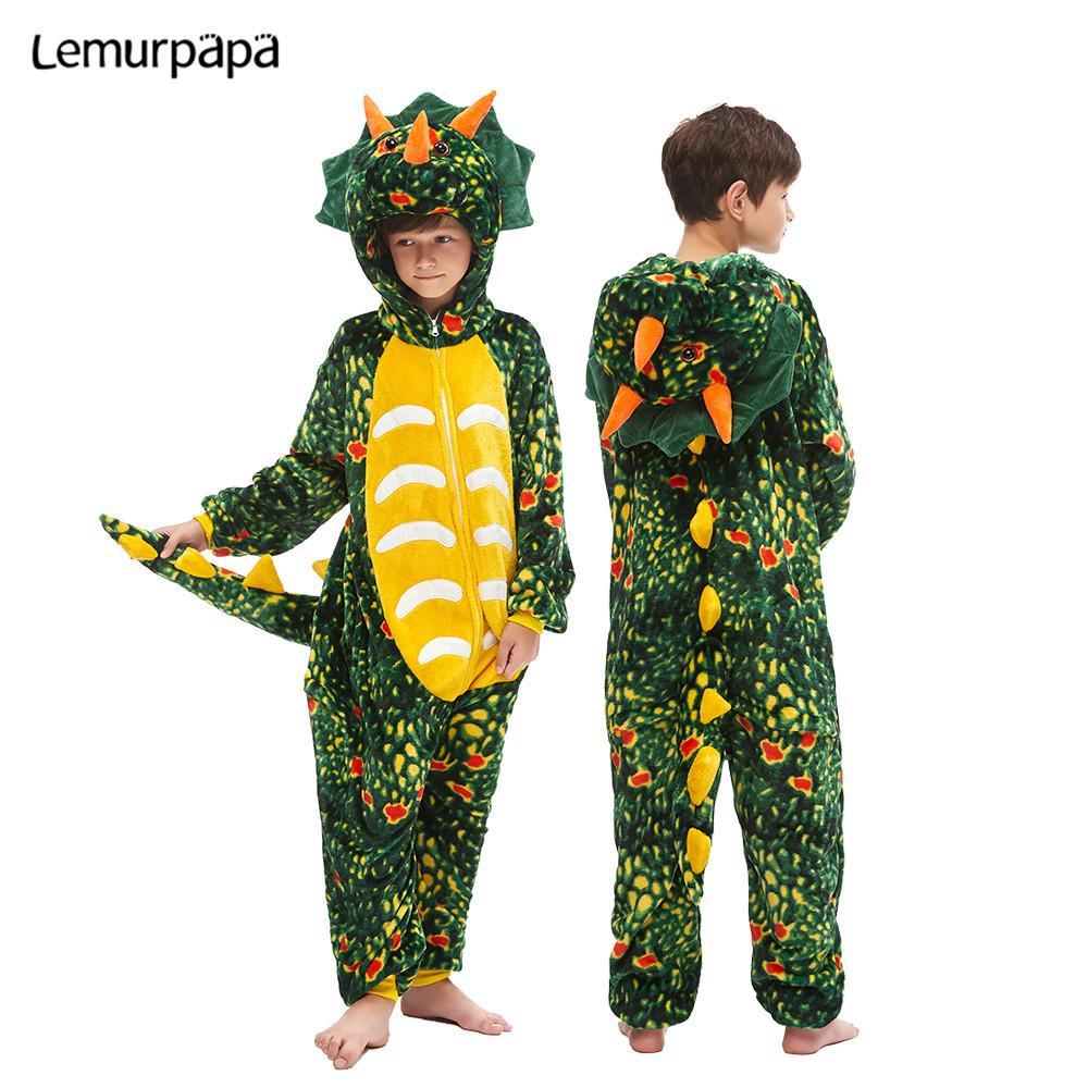 Enfants Kigurumis enfants Cartoon Homewear Onesies mignon dinosaure de nuit pyjama costume fille Party Boy cosplay enfant Jumpsuit Y200704