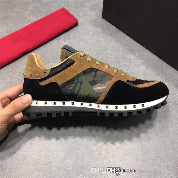 Sneakers da donna camouflage con borchie, sneaker da uomo classica di design Scarpe casual Pantaloni rossi con scatola Taglia 35-45