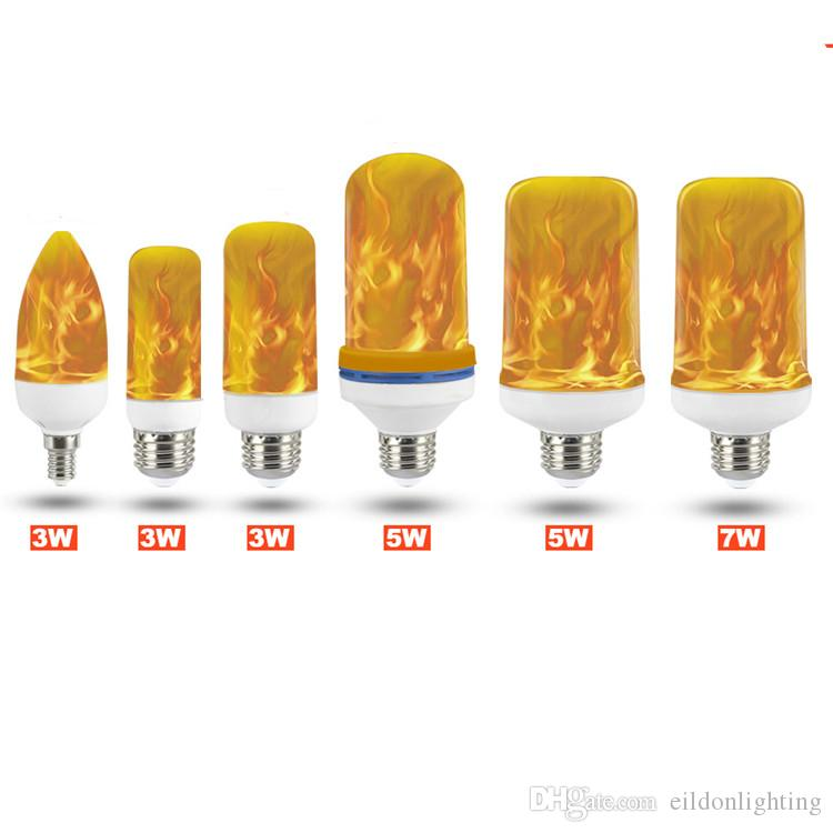 LED E27 E14 Flame Candle Bulb 3W 5W 7W 85-265V Aluminum Lamps Yellowish Warm 1400K Gravity Sensor Indoor Lighting Direct from Shenzhen China
