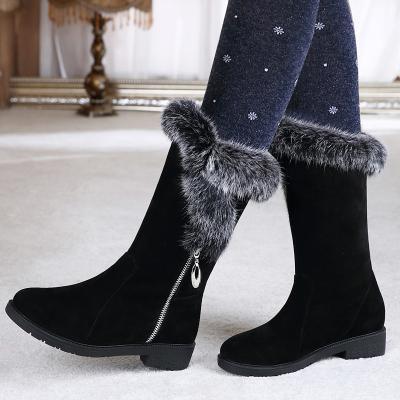Pelliccia di coniglio stivali da neve in pelle femminile 2019 inverno nuovo tubo stivaletti di pelliccia all-in-one calore più velluto scarpe di cotone