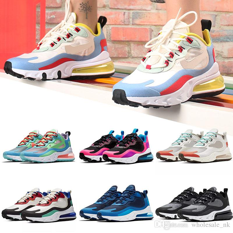 Compre Nike Air Max 270 React Epic Zapatillas De Deporte Baratas Para  Hombre Para Hombre Triple Blanco Negro Beige Electro Green Lagoon Phantom  JADE ...