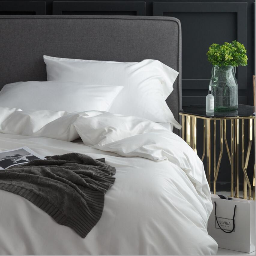 Casa Têxtil 100% Algodão Puro Branco capa de Edredão conjunto Rei Queen size 4 Pcs Hotel Bed set Breve Conjuntos de cama lençol fronhas